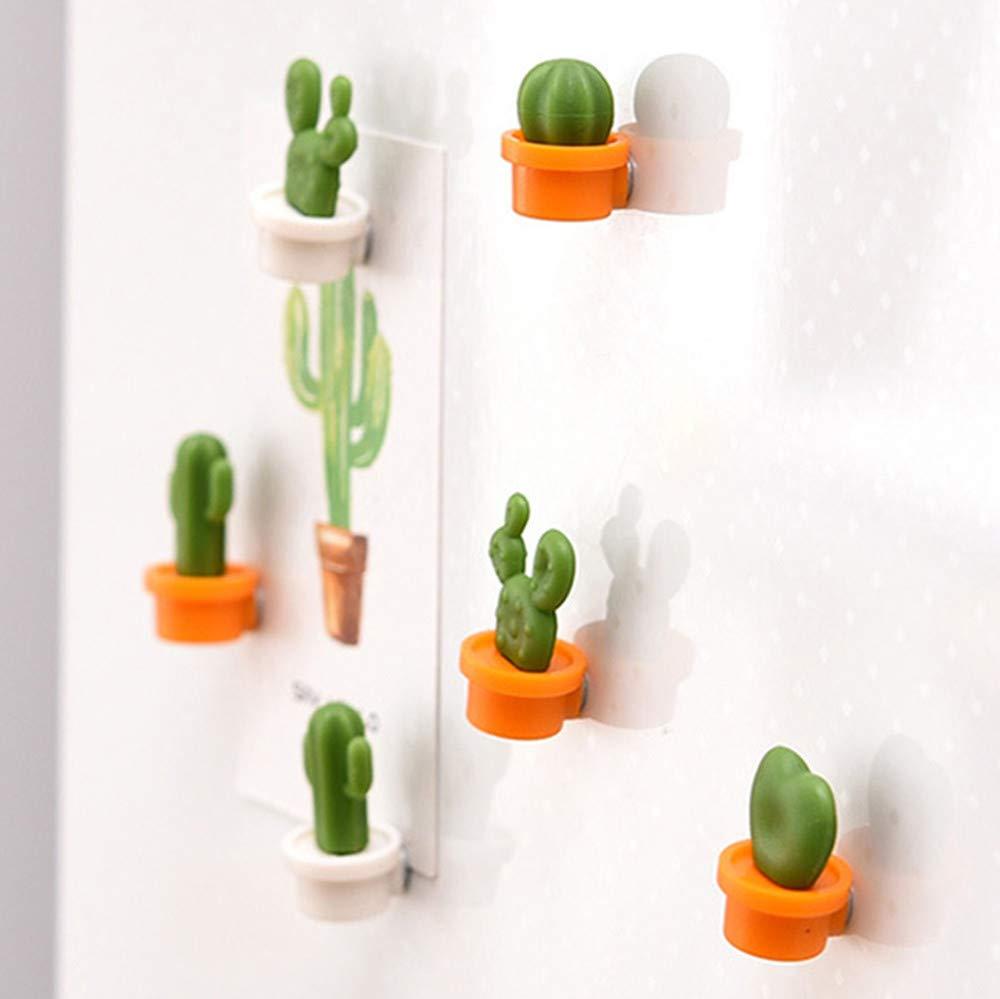 Sencillo Vida Imanes Nevera Imanes Pizarra Magnetica Imanes Potentes Fuerza Imán Decorativo Perfecto Regalo Magnético, Cactus de Linda, 6Pcs (Blanco)