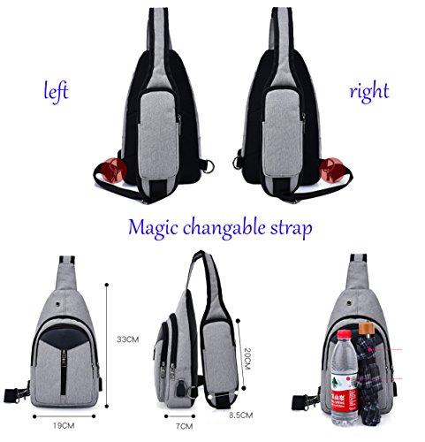Super quotidien de trou Sac avec USB Port Sac Unisexe loisirs d'école nylon en écouteurs violet chargeur sport moderne Sac avec rwtrFq4