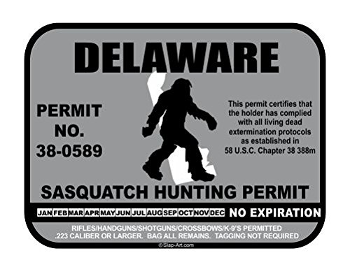 JS Artworks Delaware Sasquatch Hunting Permit License Bigfoot Vinyl Sticker Decal