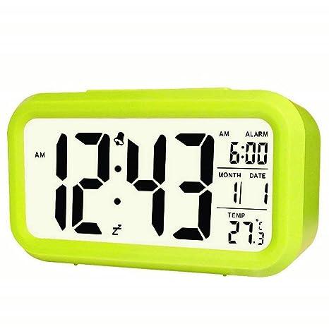 GuDoQi Reloj de Alarma portátil Baja tecnología de Sensor de luz Temperatura y Fecha de visualización