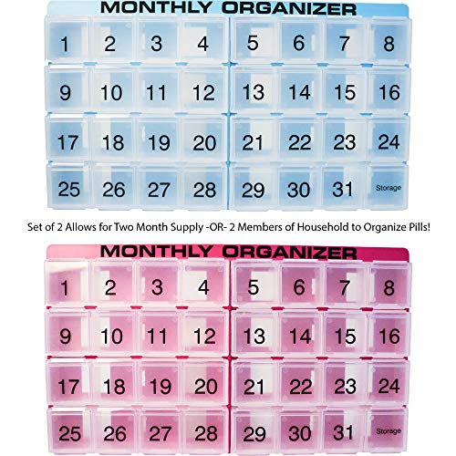 31 Supply Day (Two Month Pill Organizers - Store Two Months of Pills OR Buy One Organizer for Two People! Blue and Fuchsia with 31 Compartments, 1 Per Day, 4 Weeks by Promed. Includes Tray and 8 Removable Sections.)