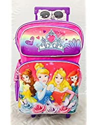 Walt Disney 4 Princess Large Rolling Backpack with Bonus Sunglasses