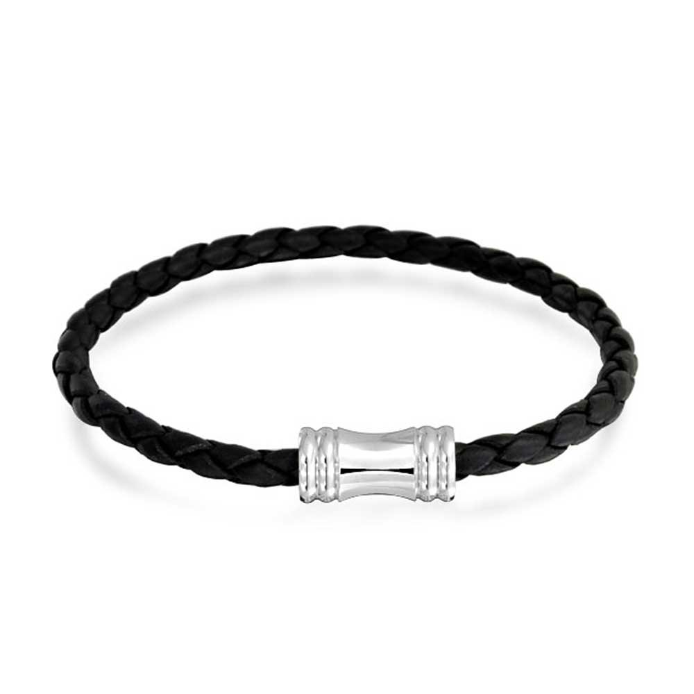 bf95da3edfc Amazon.com: Black Woven Weave Thin Braided Cord Multi Strand Leather  Bracelet for Women Silver Tone Magnetic Clasp Steel: Bangle Bracelets:  Jewelry