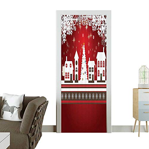 (Modern Art Door Sticker Winter Holis Themed Gingerbread Houses Xmas Tree Lights and Snowflakes Environmentally Friendly decorationW32 x H80)