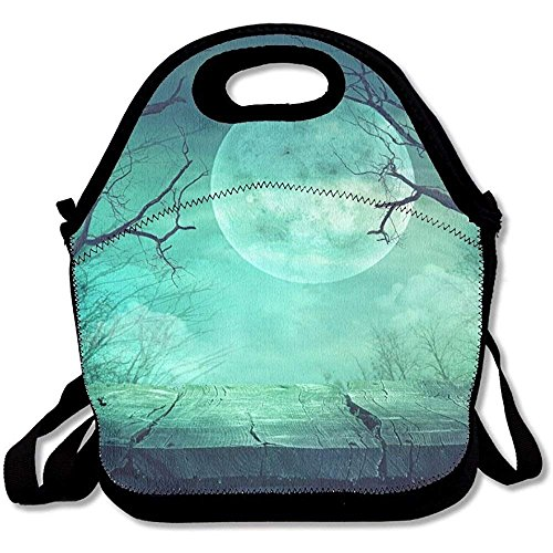 MLikdfjapf Halloween Background Spooky Forest With Full Moon And Wooden Table Funny Lunch Tote Lunch Bag Outdoor Picnic Mid-sized ()