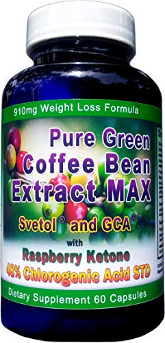 910mg Pure Green Coffee Bean Extract MAX ~ Svetol ~ GCA ~Raspberry Ketones ~ Contains up to 48% Chlorogenic Acid ~ Strongest Diet - Bean Coffee Max