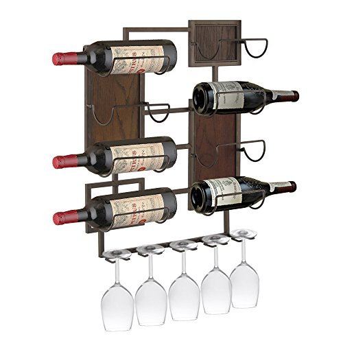 Design Mode 32-134LWD 20 x 24 in. Metal & Wood 8 Bottle & 5 Glass Wall Mount Wine Storage Rack by Design Mode