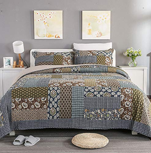 Country Modern Bed - YAYIDAY Patchwork Botanical Cotton Bedspread Quilt Sets King Size Bohemian Pattern - Breathable Summer Comforter Reversible Floral Quilted with Pillow Shams, Modern Stitched Coverlet, Grey