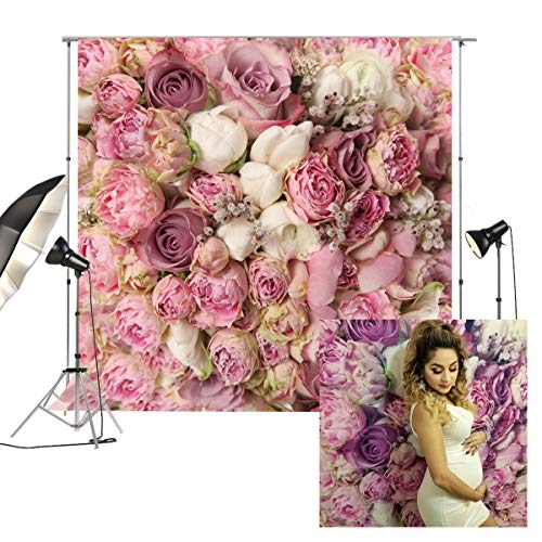 (8x8ft Rose Floral Wall Wedding Photography Backdrop Studio Pink Flowers Photo Backdrops FD-8059)