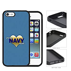 Proud Navy Mom with Gold Heart and Teal Blue Background iPhone 5 5s Rubber Silicone TPU Cell Phone Case