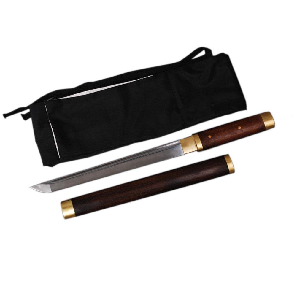 YJ COOL Ninja Practice Sword Straight Sharp Plain High Carbon Steel Rosewood Saya (Short) by YJ COOL