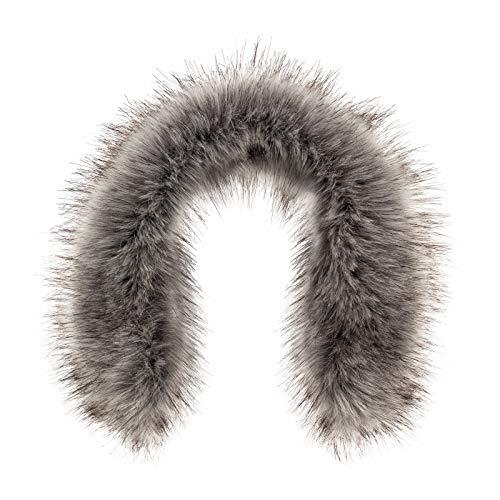 Futrzane Trim Hood Faux Fake Fur Hood Winter for Jacket Ski Collar Wrap Shawl (L, Silver)