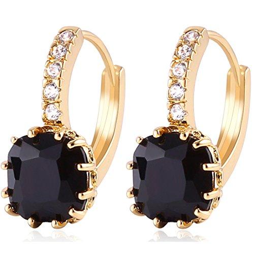 GULICX Gold Tone Black Crystal Dashing Captivating Rhinestone leverback Earring