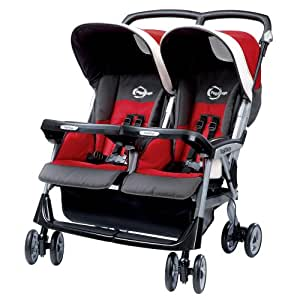 Peg-Perego Aria Twin 60/40 Stroller, Corallo (Discontinued by Manufacturer)