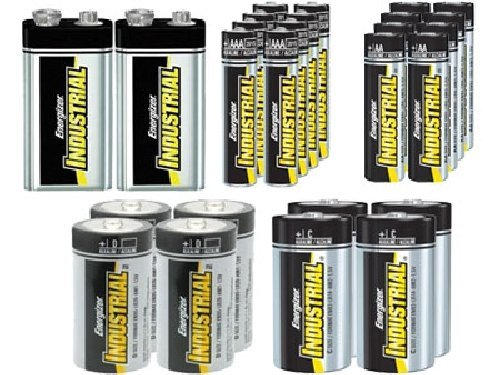 8 AA + 8 AAA + 4 C + 4 D + 2 9 Volt Energizer Industrial Alkaline Battery Combo by Energizer