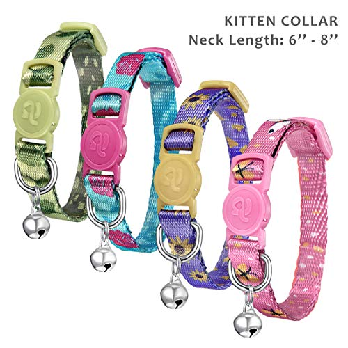 azuza Kitten Collar Breakaway with Bell,Quick Release Safe Buckle Adjustable Baby Kitten Collars, Floral Print Rose/Ginkgo/Sunflower/Butterfly, Pack of 4