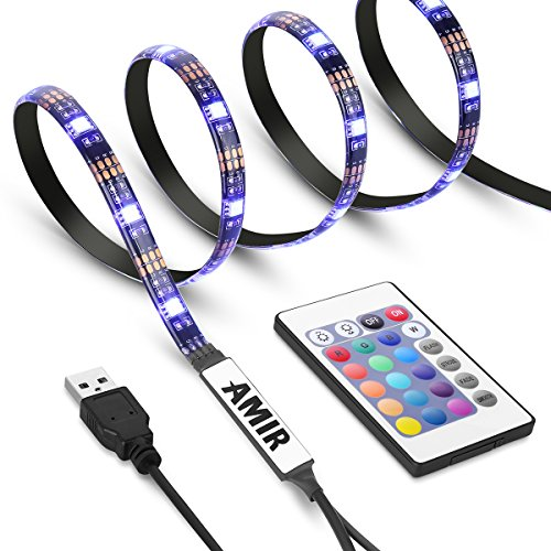 AMIR TV LED Strip Lights, 30 LED Multi Color Changing Backlight Strip Lighting Kit With USB Powered, Versatile Remote Control Waterproof IP65 Decorative Bias Lighting For TV Screen Desktop PC Cycling