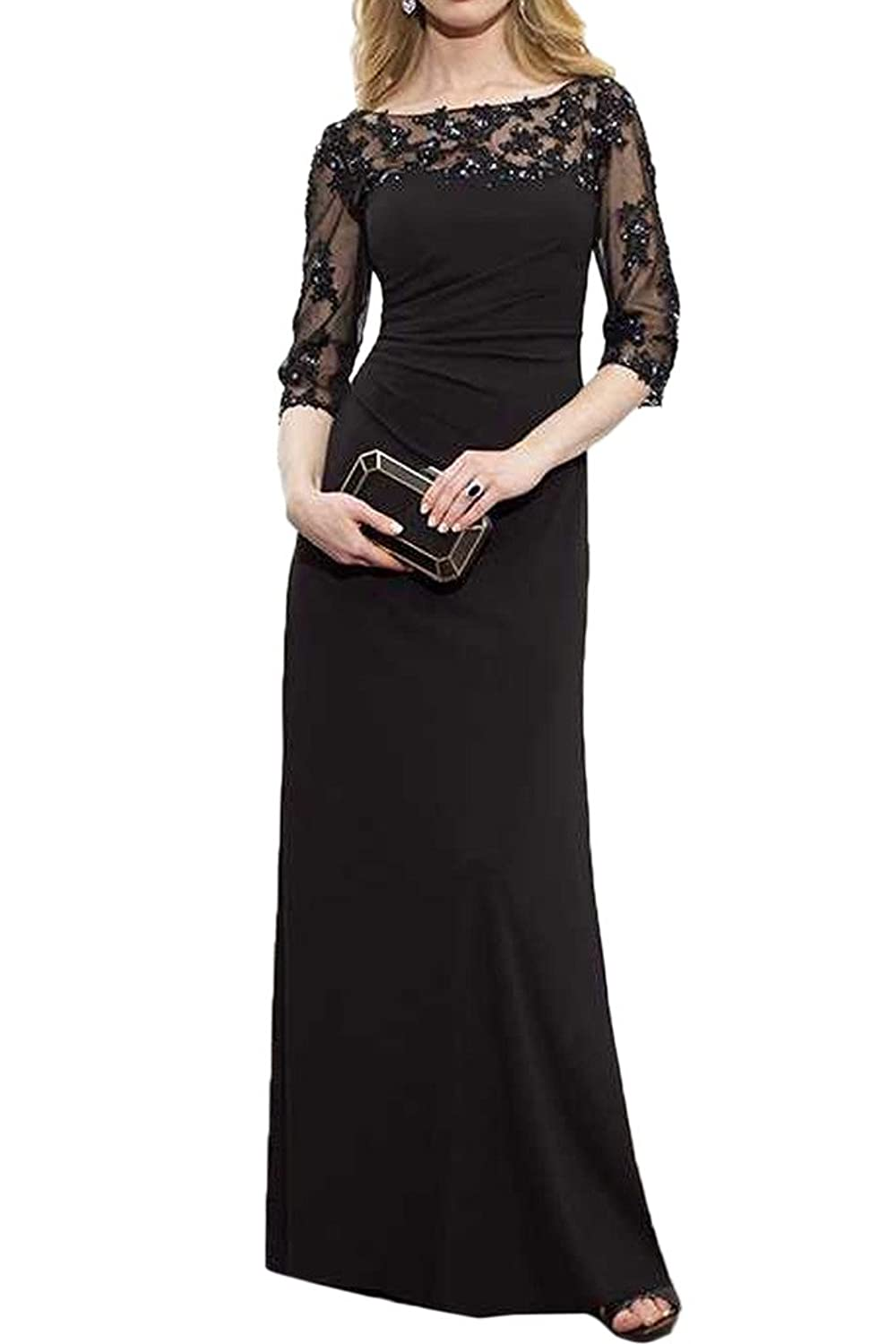 Gorgeous Bride Sheath Half Sleeves Mother of the Bride Evening Dresses Long