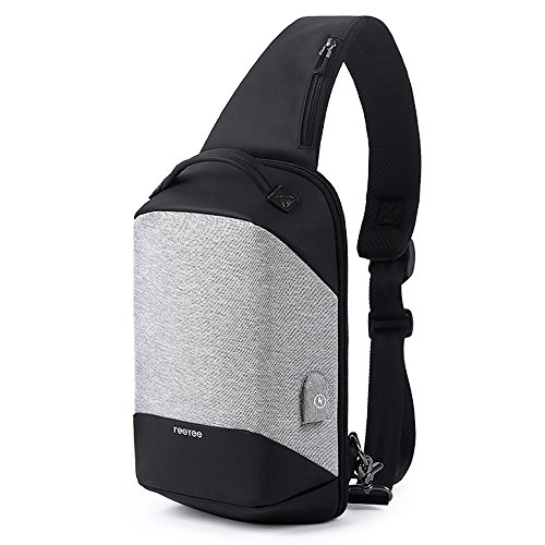 Lucky2Buy Slim Water-repellent Anti-Theft Chest Sling Bag Crossbody Backpack with USB Charging Port 9.7inch Tablet for School, Work, Business Trip (Slim Backpack Hike)