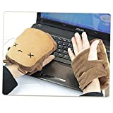 vanki USB Gloves New Laptop Women's USB Heated Half Winter Warm Hand Gloves Warmer Wool Little Bear 1pcs