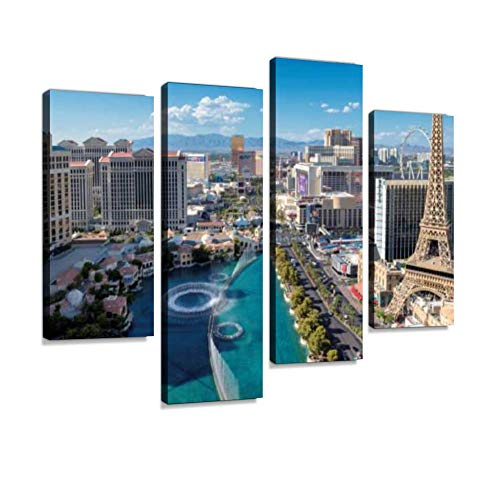 Aerial View of Las Vegas Strip Canvas Wall Art Hanging Paintings Modern Artwork Abstract Picture Prints Home Decoration Gift Unique Designed Framed 4 Panel
