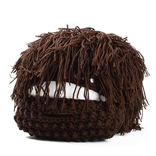 HSRG Sombrero De Beanie De La Peluca Bárbara De Lana De Invierno Sombrero De Punto Divertido Máscara Facial De La Barba Brown