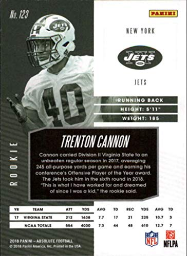 Amazon.com  2018 Absolute Football Spectrum Blue  123 Trenton Cannon Rookie  New York Jets Official NFL Trading Card made by Panini  Collectibles   Fine  Art e57c62296