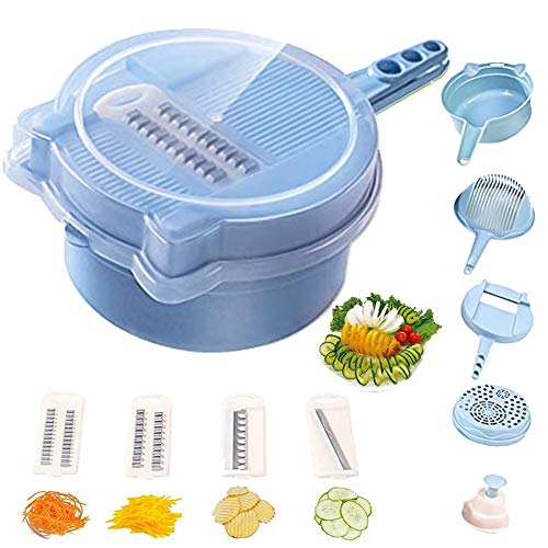 Vegetable Chopper Cutter Spiralizer 9 in 1 Multi-function Cutter Slicer Dicer Easy Food Chopper Slicer Dicer Tool Manual Mandoline for Cheese Onion Chopper -