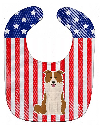 Red Border Collie - Caroline's Treasures Patriotic USA Baby Bib, Border Collie Red White, Large
