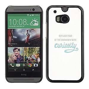 Qstar Arte & diseño plástico duro Fundas Cover Cubre Hard Case Cover para HTC One M8 ( Curiosity Exploration Blue Inspiring Text Motivational)