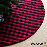 EDLDECCO 48 Inches Christmas Tree Skirt Red and Black Plaid Buffalo Check Double Layers Handicraft Xmas Decoration Holiday Ornaments