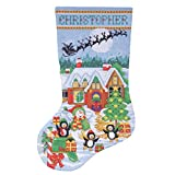Tobin 14 Count Penguin Party Stocking Counted Cross Stitch Kit, 17-Inch Long