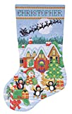 Tobin DW5972  14 Count Penguin Party Stocking Counted Cross Stitch Kit, 17-Inch Long