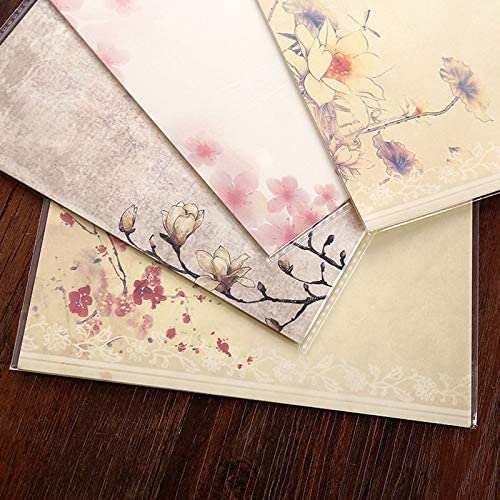 FANGDAHAI BriefpapierSupplies 8pcs Chinese Style Flower Envelope Letter Paper Set Kids Gift School Kawaii Stationery Office Message Writing Paper Letter Set