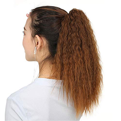 Synthetic Hair Extension Y.F.M Long Wave Ponytail Extension, Synthetic Ponytail Kinky Curly Hairpiece, Corn Fluffy Ponytail Wigs, Curly Rolls Clip Corn Wavy Magic Paste Ponytail Hair Piece for Women -