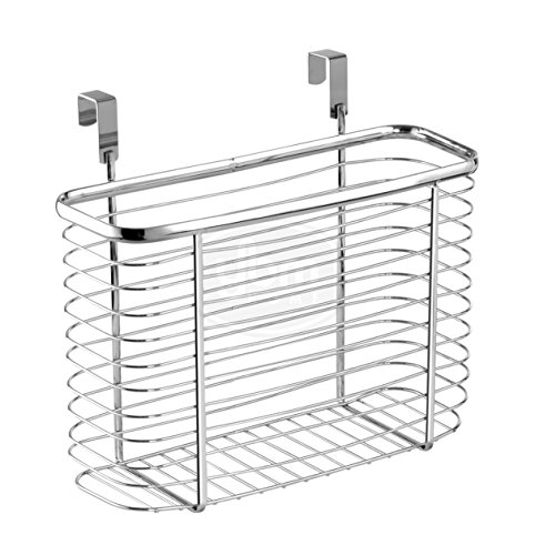 Ybmhome Over the Cabinet Door Kitchen Storage Organizer Holder Basket Pantry Caddy Wrap Rack for Sandwich Bags, Cleaning Supplies – Chrome 2234 (1, Medium)