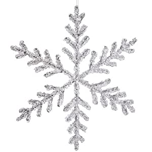 """Vickerman 12"""" Clear Icy Silver Glitter Snowflake Christmas Ornament, Large"""