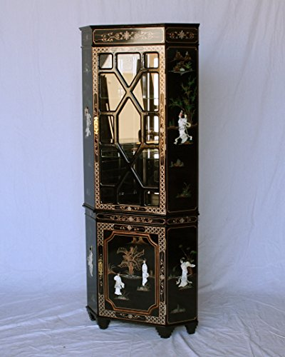 Black Lacquer Wooden Corner Curio Cabinet Model 3240-BK