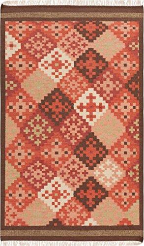 (Surya Jewel Tone II JTII-2048 Transitional Hand Woven 100% Hard Twist Wool Carnelian 5' x 8' Southwest Area Rug)