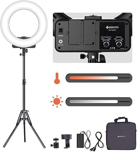 Geekoto - Luz ámbar, 18 Pulgadas, luz Anillo Regulable, 48 W, luz ...
