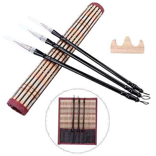 NUOLUX Chinese Calligraphy Brushes Set Sumi Drawing Painting Art Brush Pen(3 Sizes with Penholder and Medium Pen Shade)
