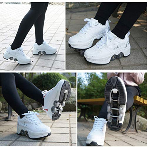 CHAONAO Roller Shoes Skate Shoes for Women Men, Boys Kids Wheel Shoes Roller Sneakers Shoes, for Unisex Beginners Gift,A,39