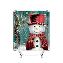 Extra Long 72x80 Inches Shower Curtain Washable,Water Repellent,Christmas Snowman Gift Tree Xmas Design