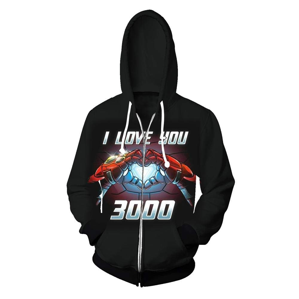 YX Hoodie Felpa con Cappuccio Marvel Revenge Alliance 4 I Love You 3000 Iron Man Loves Three Thousand Times Times Stampa Cardigan con Zip 3D BM