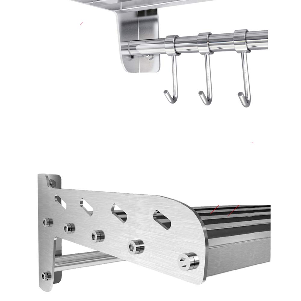 HUO 304 Stainless Steel Kitchen Rack Wall-Mounted Partition Bracket Kitchen Storage Rack Multifunction (Color : 28CM, Size : 120cm) by Kitchen shelf (Image #3)