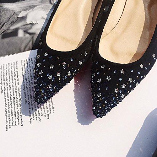 Angrousobiu Die Spitze auf dem Bohrer mit Boden flachem Boden mit Schuh tipp Licht - flache Schuhe mit einem weiblichen Stars Wasser bohren Single single Schuhe Frauen Schuhe Schwarz 624197