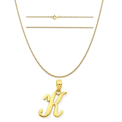 K/&C 14k Yellow Gold Small Block Initial N Charm on 14K Yellow Gold Rope Chain Necklace