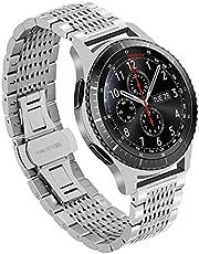 Kai Tian Mesh armband compatibel voor Samsung Galaxy Watch 46 mm Gear S3 Frontier, Classic 22 mm roestvrij stalen horlogebandjes mannen vrouwen zwart zilver