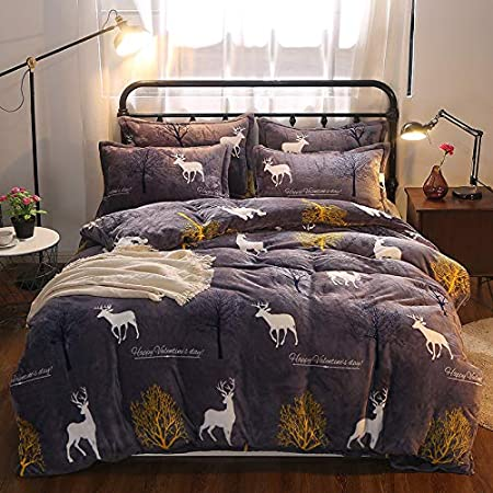 Bed Set Bedding Sheets Set Fleece Warm Duvet Cover Fitted Sheet Pillowcase CA1808 Twin Queen King No Comforter Mcow Cat Pineapple Rabbit Designs for Kid (Forest Deer, Black, Twin 60x80 3pcs) Twin 60x80 3pcs) KFZ