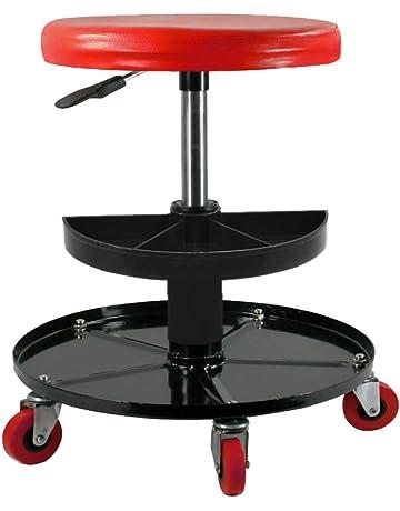 CASTOOL - Silla mecánico con Ruedas, Ajustable, Capacidad de 300 Libras, Color Rojo